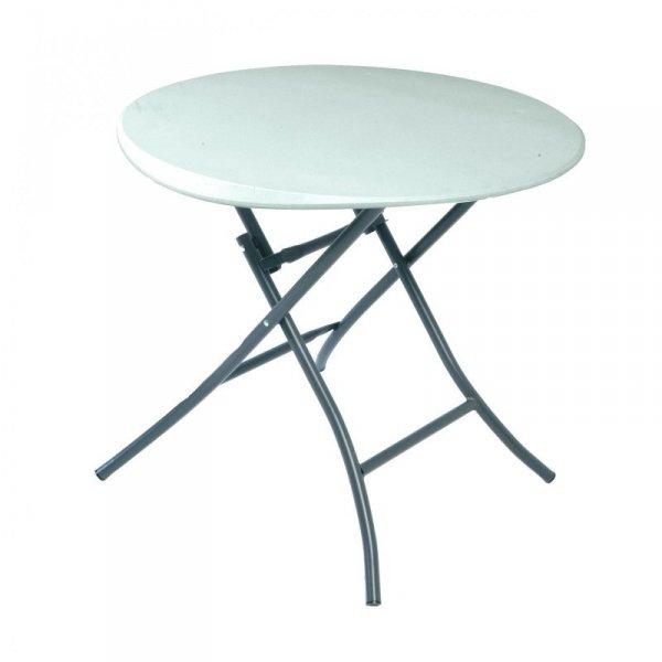 Okrągły półkomercyjny stół składany 83.8cm (biały granit) 80423