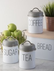 Zestaw 3 pojemników na herbatę, kawę i cukier