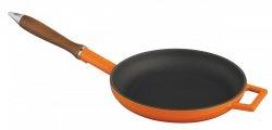 Patelnia żeliwna emaliowana 24 cm drewnianą rączka - pomarańczowa Lava Cooking
