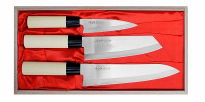 Satake Megumi Zestaw 3 noży w drewnianym pudełku