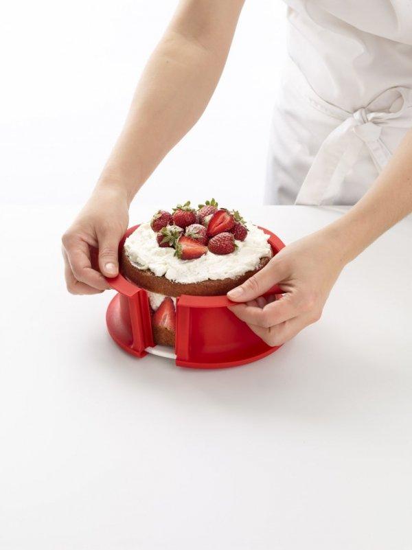 Tortownica DUO 15 cm z talerzem - czerwona Lekue