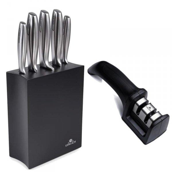 Gerlach 993 Modern - zestaw noży kuchennych (5szt.) w czarnym bloku plus ostrzałka uniwersalna!