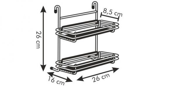 Półeczka dwupiętrowa MONTI, 26 cm