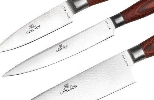 Gerlach 991 Deco Wood - komplet noży kuchennych (5 szt.) w bloku plus ostrzałka uniwersalna!