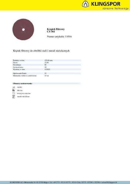 KRĄŻEK FIBROWY CS561 GRANULACJA 80 125MM 11016