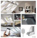 Okno Dachowe Velux INTEGRA GGU 006621 Uw = 1,0 Drewniano-poliuretanowe białe Okno obrotowe sterowane elektrycznie, superenergooszczędne, szkło hartowane i laminowane P2A z pakietem wyciszania deszczu