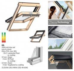 Okno Dachowe Velux GGL 3066 Uw = 1,0 Drewniane okno obrotowe  superenergooszczędne, szkło hartowane i laminowane P2A z pakietem wyciszania deszczu