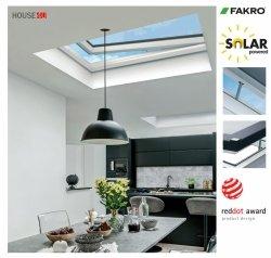 Fakro Okno do dachu płaskiego DEF DU8 z ultra-energooszczędną szybą DU8 Uw=0,64 W/m2K, otwierane elektryczne, bezprzewodowy system Z-Wave