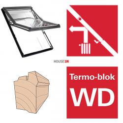 Okno dachowe Roto obrotowe Designo  R68C H200 Okno z pakietem 2-szybowym Comfort, szkło hartowane i laminowane, drewniane Uw = 1,1, Termo-blok WD