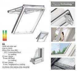 Okno Dachowe Velux GPU 0066 Uw = 1,0 Drewniano-poliuretanowe białe okno klapowo-obrotowe o dużym kącie otwarcia superenergooszczędne, szkło hartowane i laminowane P2A z pakietem wyciszania deszczu