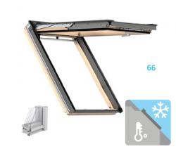 Okno Dachowe Velux GPL 3066 Uw = 1,0 Drewniane Okno klapowo-obrotowe o dużym kącie otwarcia superenergooszczędne, szkło hartowane i laminowane P2A z pakietem wyciszania deszczu