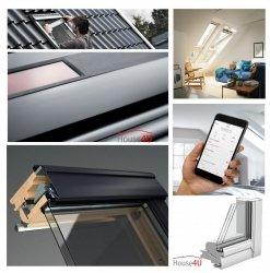 Okno Dachowe Velux INTEGRA GGU 006221 Uw = 0,92 Drewniano-poliuretanowe białe Okno obrotowe sterowane elektrycznie, superenergooszczędne, szkło hartowane i laminowane P2A z pakietem świetnej redukcji hałasu