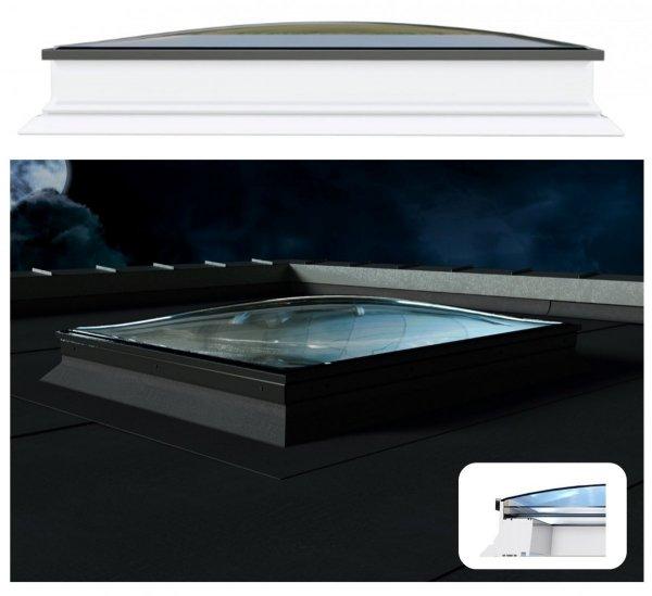 Okno dachowe Okpol PGX B6 Spherline, okno nieotwierane, trzyszybowe, w kolorze białym PVC UW=1,1, zewnętrzna szyba zaokrąglona