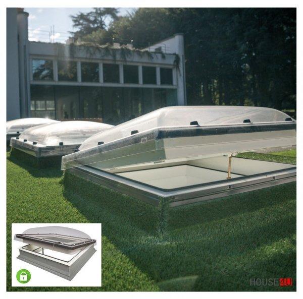 Fakro Okno do płaskiego dachu DMC-C P4 SECURE antywłamaniowe, U=1,2 W/m²K, manualne, otwierane za pomocą drążka ZSD o podwyższonym poziomie bezpieczeństwa konstrukcyjnego, kopuła transparentna