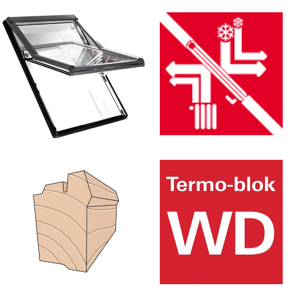 Okno dachowe Roto obrotowe Designo R69G H200 Okno z pakietem 3-szybowym Comfort, szkło hartowane i laminowane, drewniane Uw = 1,0/0,9 , Termo-blok WD