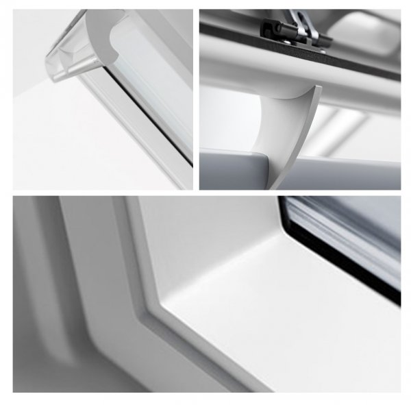 Okno Dachowe Velux GPU 0068 Uw = 1,1 Drewniano-poliuretanowe białe okno klapowo-obrotowe o dużym kącie otwarcia superenergooszczędne, szkło hartowane i laminowane P2A