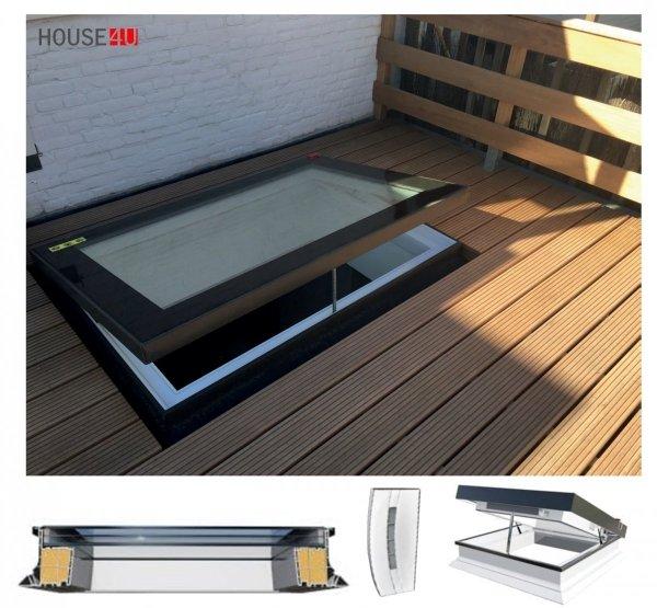 Okno Okpol PGC B1 elektryczne do dachów płaskich  trzyszybowe, Uw=0,66 W/m²K, z czujnikiem deszczu sterowanym elektrycznie, rama PVC kilkukomorowa, szyba bezpieczna laminowana.