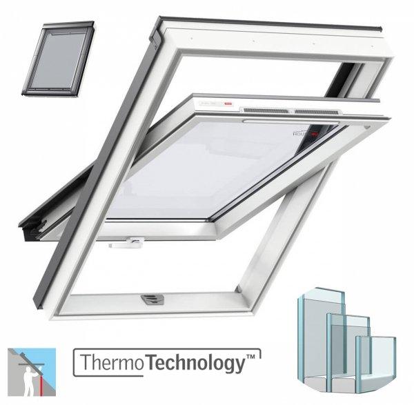 Okno Dachowe Velux GLU 0061B Uw = 1,1 Drewniano-poliuretanowe białe okno obrotowe z dolnym otwieraniem i energooszczędnym pakietem szybowymOkno Dachowe Velux GLU 0061B Uw = 1,1 Drewniano-poliuretanowe białe okno obrotowe z dolnym otwieraniem i energooszcz