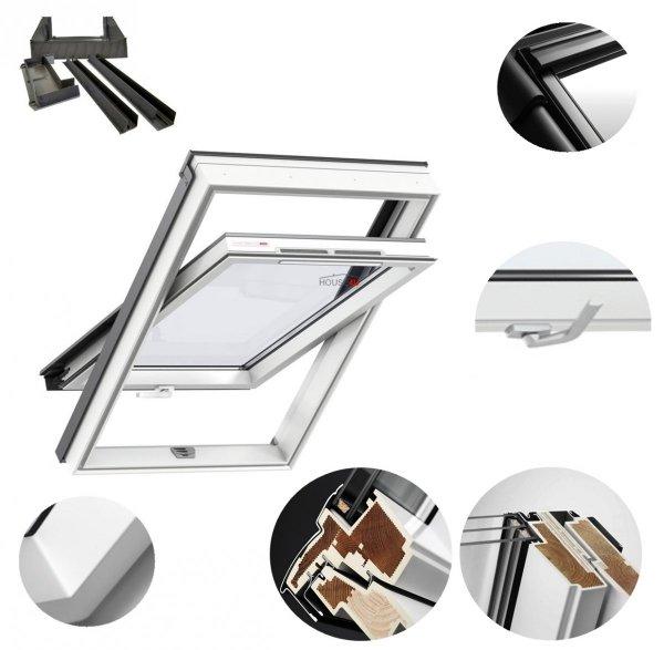 Okno Dachowe Velux GLU 0051B Uw = 1,3 Drewniano-poliuretanowe białe okno obrotowe z dolnym otwieraniem i energooszczędnym, hartowanym pakietem szybowym