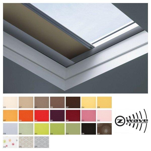 Fakro roleta zaciemniająca do dachów płaskich ARF/D Z Wave grupa cenowa II, przeznaczone do okien typu F, C oraz G sterowana elektrycznie