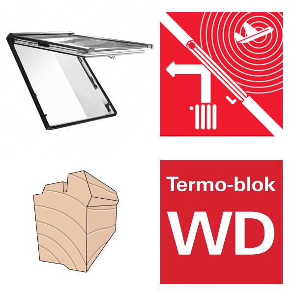 Okno dachowe Roto Designo uchylno-wysokościowe R86E H200 Okno z pakietem 3-szybowym Acoustic, szkło laminowane, drewniane Uw = 1,1, Termo-blok WD