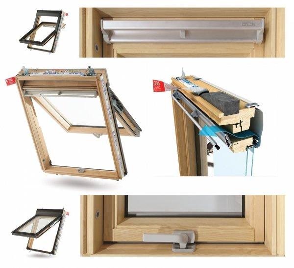 Okno Dachowe Velux GTL 3070 Uw = 1,3 Drewniane Okno klapowo-obrotowe do poddaszy i jednocześnie wyjście na dach, z szybą energooszczędną, hartowaną i laminowaną P2A