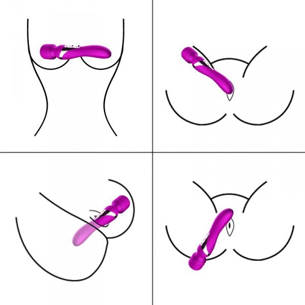 Silicone Dual Massager USB 7+7 Function Purple