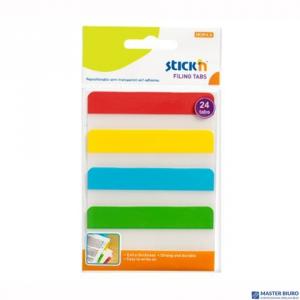 Przekładki indeksujące przeźroczyste 38x76mm 4 kolory STICKN 21609