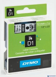 Taśma DYMO D1 12mm czarny/przezroczysta 450x10 S0720500