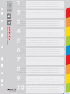 Przekładki , karton, A4, 227x297mm, 10 kart, mix kolorów, typu OFFICE PRODUCTS 21071021-99
