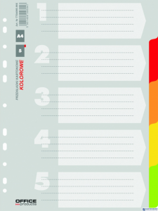 Przekładki , karton, A4, 227x297mm, 5 kart, mix kolorów, typu OFFICE PRODUCTS 21070521-99