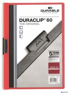 Skoroszyt z klipem A4 DURABLE DURACLIP 1-60 kartek czerwony 220903