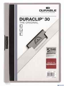 Skoroszyt z klipem A4 DURABLE DURACLIP 1-30 kartek szary 220010