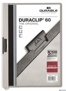 Skoroszyt z klipem A4 DURABLE DURACLIP 1-60 kartek szary 220910