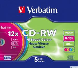 Płyta CD-RW VERBATIM SLIM Kolor 700MB x12               43167