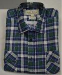 Koszula flanelowa z dwiema kieszeniami granatowo-zielona