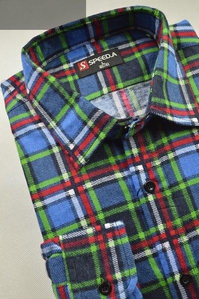 Koszula flanelowa chabrowa w zielono-czerwoną kratę