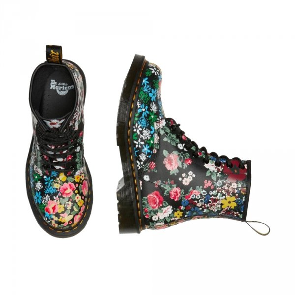 Buty Dr. Martens 1460 PASCAL Floral Mash up White and Black Backhand 26920101