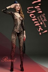 Bielizna-Rimes Bodystocking One Size No,606A BLACK