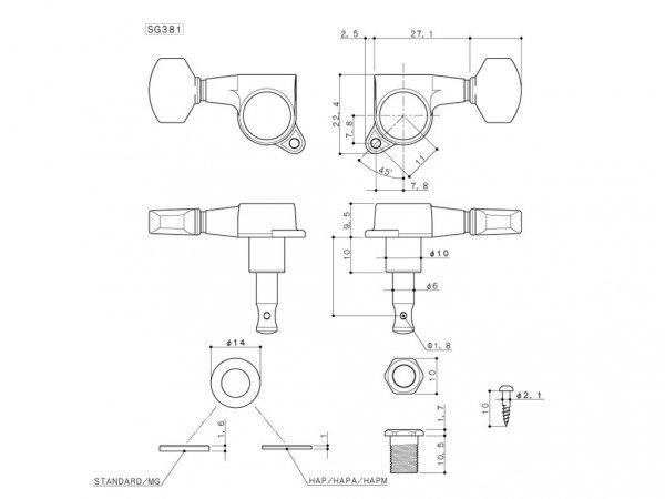 Klucze blokowane GOTOH SG381-05 MG (BK,3+3)