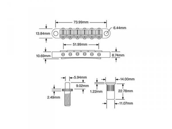 Mostek tune-o-matic TONEPROS T3BT 6,3mm (CR)