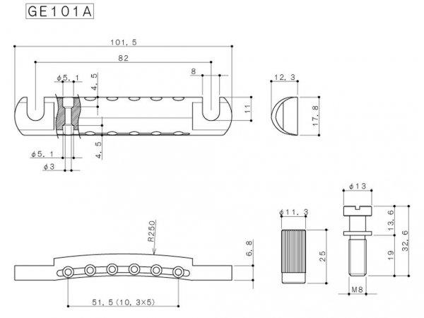 Aluminiowy zaczep strun GOTOH GE101A (BK)