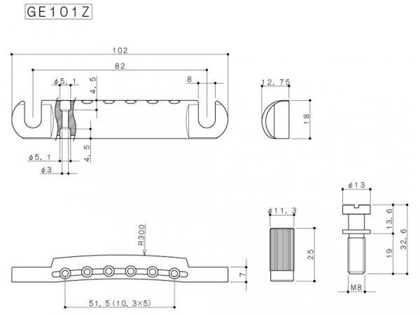 Zaczep strun GOTOH GE101Z (BK)