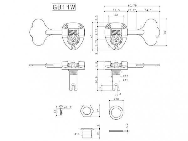 Pojedynczy klucz do basu GOTOH GB11W (GD,L)