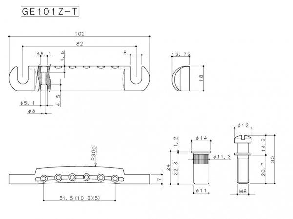 Zaczep strun GOTOH GE101Z-T (CR)