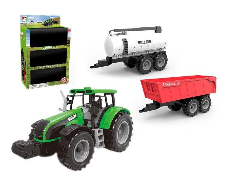 Traktor z 2 przyczepami zestaw