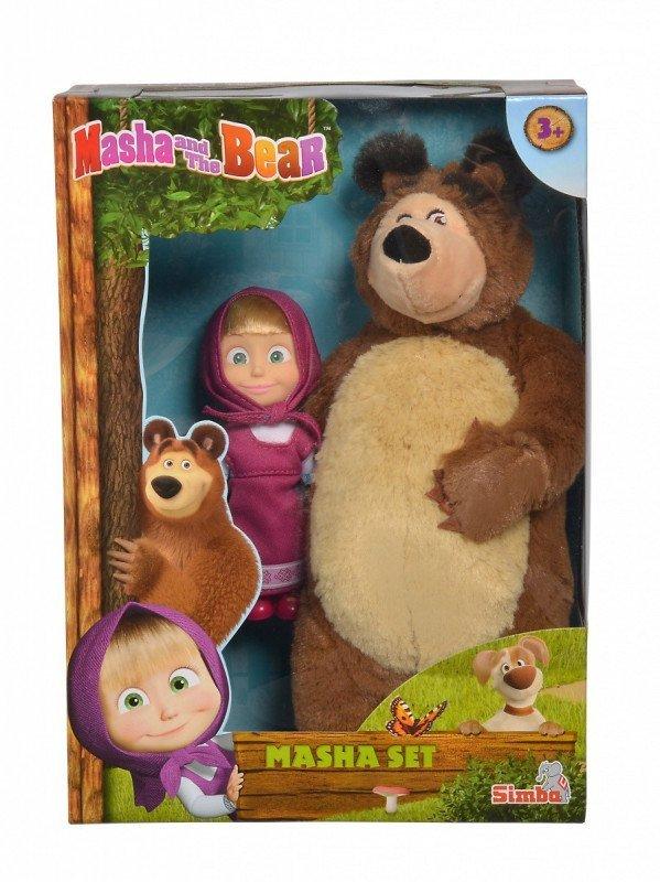Simba Pluszowy Miś 25 cm i lalka 12 cm Masza i Niedźwiedź