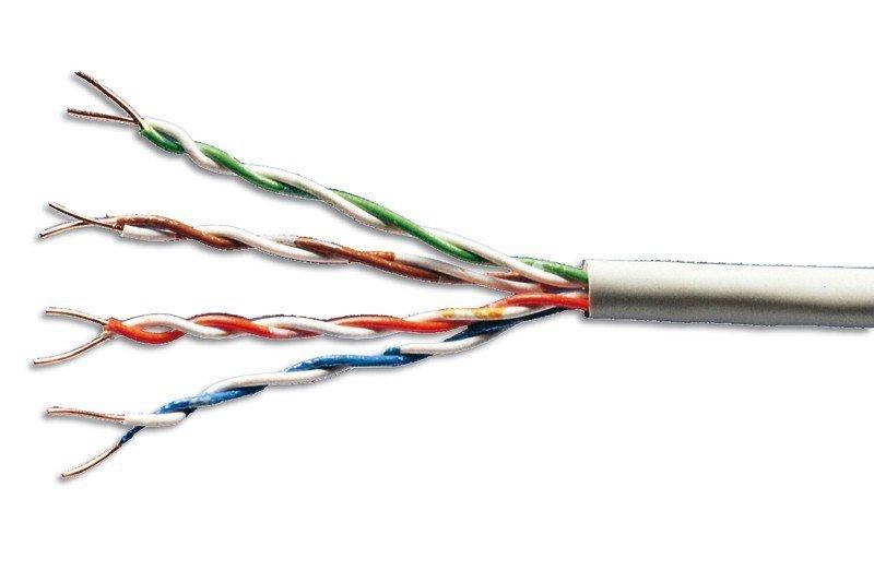 Kabel teleinformatyczny, patchcordowy, U/UTP kat.5e AWG26/7, linka, miedziany, PVC, 100m, szary