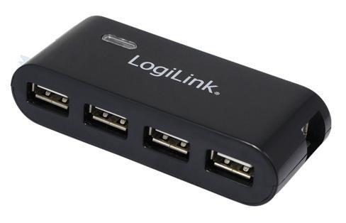 HUB USB 2.0 4-portowy z zasilaczem, czarny