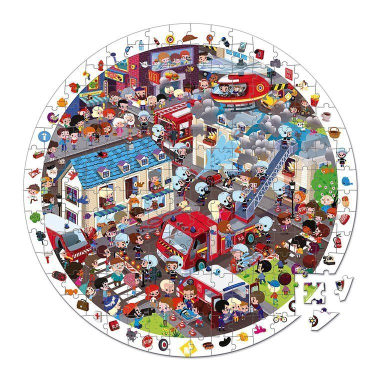 Puzzle obserwacyjne w walizce okrągłe Straż pożarna www.tuliki.pl